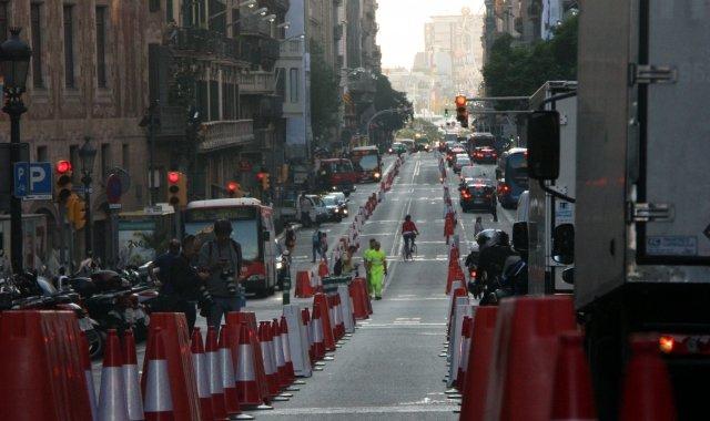 La Via Laietana de Barcelona és un dels carrers tallats