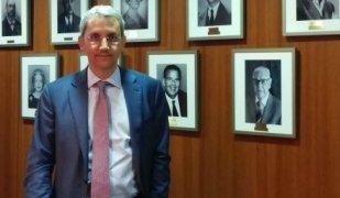 Jordi Mercader, a les oficines centrals de Barcelona
