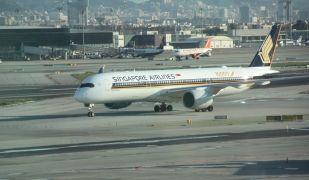 Aterratge de l'Airbus A350 de Singapore Airlines al Prat