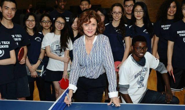 Susan Sarandon al seu local de ping-pong a Nova York