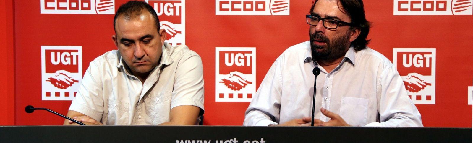 Javier Pacheco i Camil Ros en una compareixença conjunta per l'aturada. | ACN