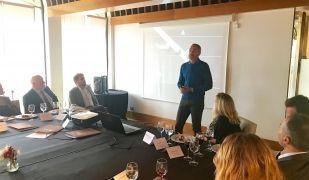 Moment de la xerrada de Corretja davant dels empresaris | L. Grau