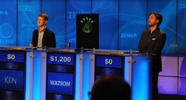 Imatge del concurs entre humans i el robot Watson. Per a Ferràs, una imatge per a la posteritat
